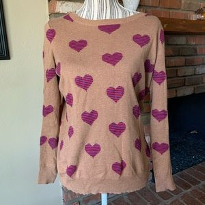 Madewell Wallace Brown Heart Pullover Sweater XS